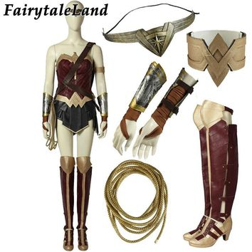 Cool Wonder Woman Cosplay Costume Custom Made Halloween Fancy Costumes Adult Superhero Diana Prince Outfit Costume Wonder Woman BootsAT_93_12