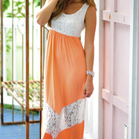 All Outta Love Maxi Dress: Peach/White | Hope's