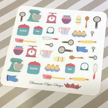 36 kiss cut and ready to peel off Baking/Cooking Stickers! Perfect for your Erin Condren Life Planner, Filofax, Kikkik, Plum Paper