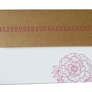 Peony Letterpress Stationery with Sewn Envelope - 5 pack