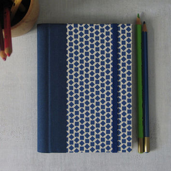 2015 Weekly Planner in a Blue Geometric pattern cover - A6 / Small Size - Made to Order