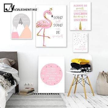 Flamingo Unicorn Nursery Posters Prints Pink Cartoon Wall Art Canvas Painting Nordic Kids Decoration Pictures Baby Bedroom Decor