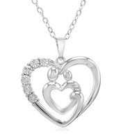 Sterling Silver Mothers Love Diamond Heart Pendant-Necklace on an 18 inch Chain