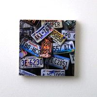 Old License Plates, Rustic Wall Decor,  Fine Art Photography, 8X8 Wood Panel, Shelf Art, Wall Art, Ready to Hang