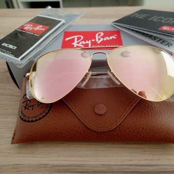 NEW GENUINE *80% OFF* Ray Ban Aviator Gold Frame Pink Mirror Sunglasses RB3025
