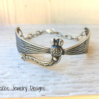 Sterling Silver (plated) metal dragonfly cuff, with chain.