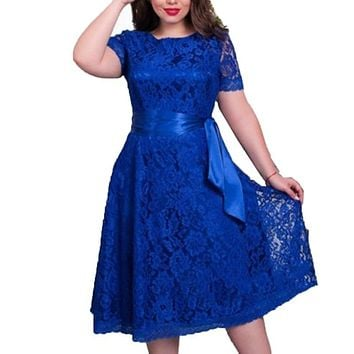 Oioninos European Style Autumn Vintage Women Sexy Elegant Dress Fit and Flare Empire Lace Sashes Party Midi Dresses