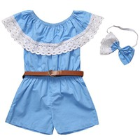 Toddler Baby Kids Girls Clothes Rompers Sleeveless Blue Short Sleeve Belt Headband 3pcs Clothing Summer Girl