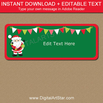 Christmas Return Address Labels, Printable Santa Labels, EDITABLE Christmas Gift Labels, Christmas Address Labels, Holiday Mailing Labels C5