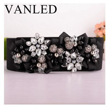Vanled Women Belts Luxury Rhinestones Flower belt Ladies Wide Metal Buckle Stretchy Corset Elastic Belt Waistband Belts