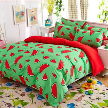 Kids Bedding set 4pcs queen twin full king size watermelon printed bedsheet pillowcase duvet cover set bed quilt bedlinen