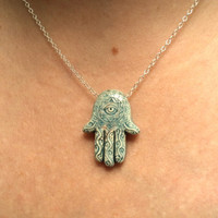 Hamsa hand and evil eye necklace.  Raku pottery.  Sterling silver chain.  Protection.  Everyday.