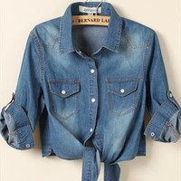 Denim long-sleeved blouse from Moonlightgirl