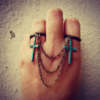 patina cross double ring set