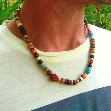 Mohave Turquoise, Rudraksha Seed, Howlite, Glass & Wooden Beaded Necklace / Tribal Surfer Necklace / Mens Beaded Necklace / Choker Necklace