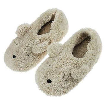 Fakeface Womens Adorable Indoor Slipper Cover Heel Cartoon Bear Warm amp Cozy Soft Sole Fuzzy Footwear Boots Beige