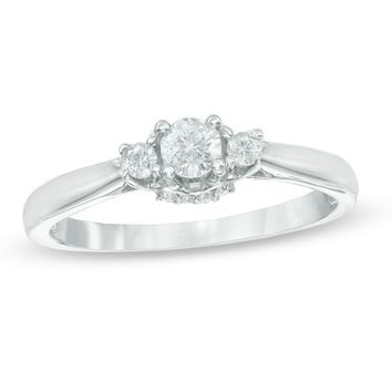 1/4 CT. T.W. Diamond Three Stone Engagement Ring in 10K White Gold|Zales