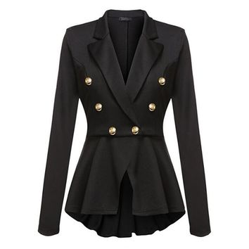 Autumn Long Sleeve Jacket Turn Down Collar Double-Breasted Jacket