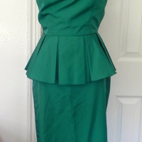 Vintage 60s Turquoise Cocktail Dress Wiggle Peplum Skirt With Side Strap