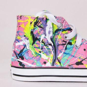 toddler pink high top splatter painted converse sneakers toddler size 9 neon sign col