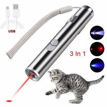 Mini lazer Red Laser Pointer USB Rechargeable 3 In 1  Pen Flashlight Charging UV Torch Pen Flashlight Multifunction Lamp