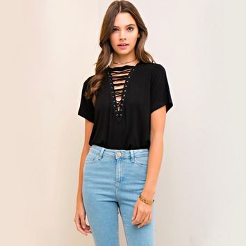 front lace-up t shirt - more colors