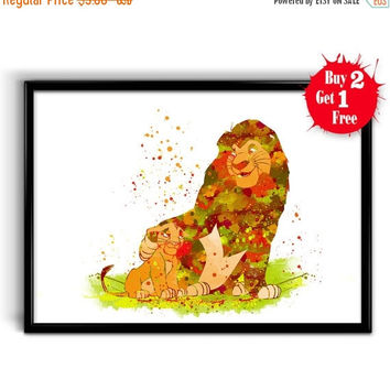 ON SALE 25% OFF Simba and Mufasa poster Disney watercolor print Lion king decor, Canvas print, Kids room wall decor