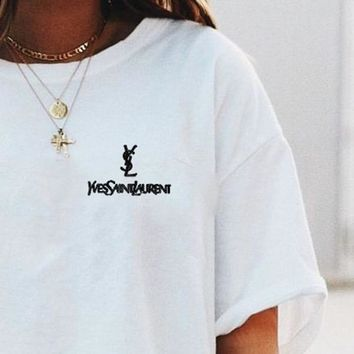 YSL Top Yves Saint Laurent Shirt Sides Embroidery Logo Women Men Tee Shirt Top Five Color-White