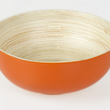 Coiled bamboo footed serving bowls, orange