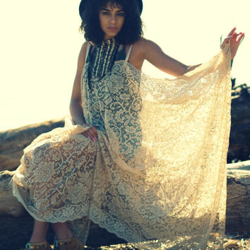 Bohemian lace long maxi shawl DRESS kimono crochet BOHO dress gypsy angel bat wing peasant festival sheer beach cover up Stevie Nicks style