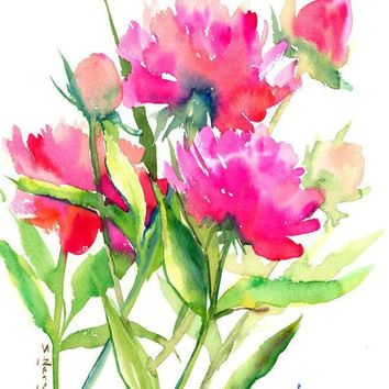 Bright Pink Peonies, Original watercolor painting, 15 x 12 in, Pink flowers, Bright pink floral impressionist art, watercolor flowers