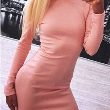Pink Long Sleeve Open Back Zipper Bodycon Mini Dress