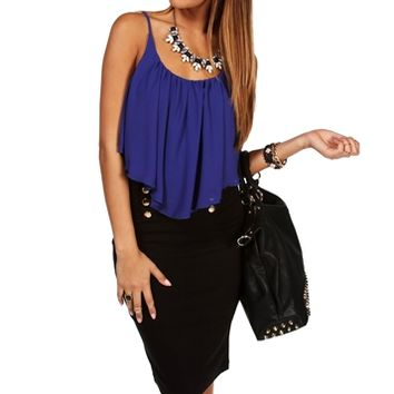 Royal Shirt Tail Crop Tank