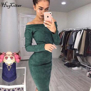 Hugcitar Suede Long Sleeve off shoulder Women mid-calf Dress Autumn Winter Female sexy Bodycon new year party Dresses