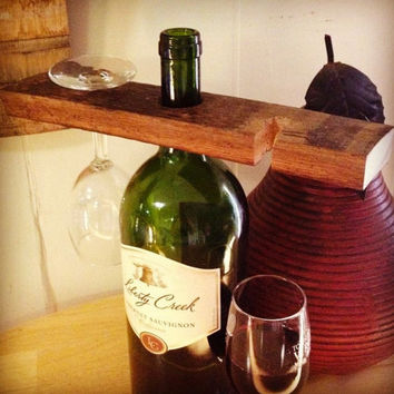 Wine Bottle Butler and Wine Glass Holder, Made from Recycled Wooden Wine Staves