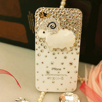 iPhone4 Sheep Crystals Protective Case Christmas Gift - GULLEITRUSTMART.COM