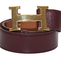 Hermes Belt Kit Burgundy Rouge Box Calf Leather Constance Gold Buckle Vintage