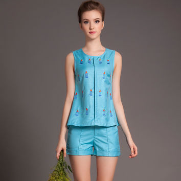 Embroidery Sleeveless Top with Shorts Set
