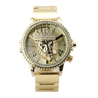 Copy of HIP HOP ICED OUT RAONHAZAE LION FACE LUXURY GOLD FINISHED LAB DIAMOND WATCH X6