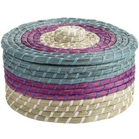 Seagrass Lidded Basket - Teal/Purple
