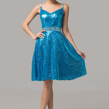 Sequined V-Neck Spaghetti Strap Homecoming Dress