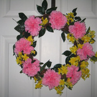 "Spring/Summer Wreath, Handmade 15"" Round Carnations and Forsythias, Mother's Day, Front Door or Wall Decor"