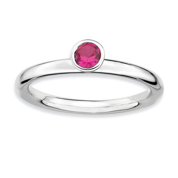 925 Sterling Silver Round Form Bezel Setting Synthetic Created Ruby Ring: Size: 8