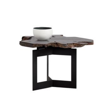 WITT BLACK STEEL FRAME WITH SOLID TEAK ROOT WOOD PAINTED BLACK TOP END TABLE
