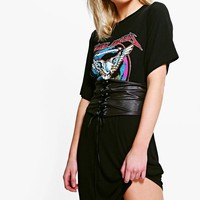 Neve Oversized 2 in 1 Corset Band T-Shirt Dress | Boohoo