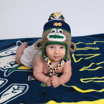 Crochet Notre Dame Football Inspired Baby Sock Monkey Hat with Embroidered Logo - Newborn, 0-3 Months, 3-6 Months, 6-12 Months