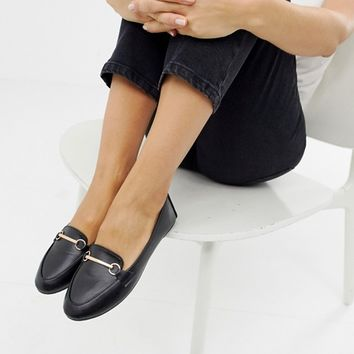 RAID Wide Fit Viera Black leather look Snaffle Detail Flat Shoes | ASOS