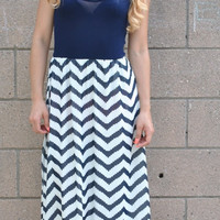 We Danced Anyway Chevron Maxi Dress - Navy