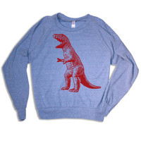 Womens vintage DINOSAUR Tri-Blend Pullover - american apparel S M L (blue)