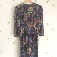 vintage 60s floral dress / wildflower fabric / blues + purples / long sleeve / above knee / xs s